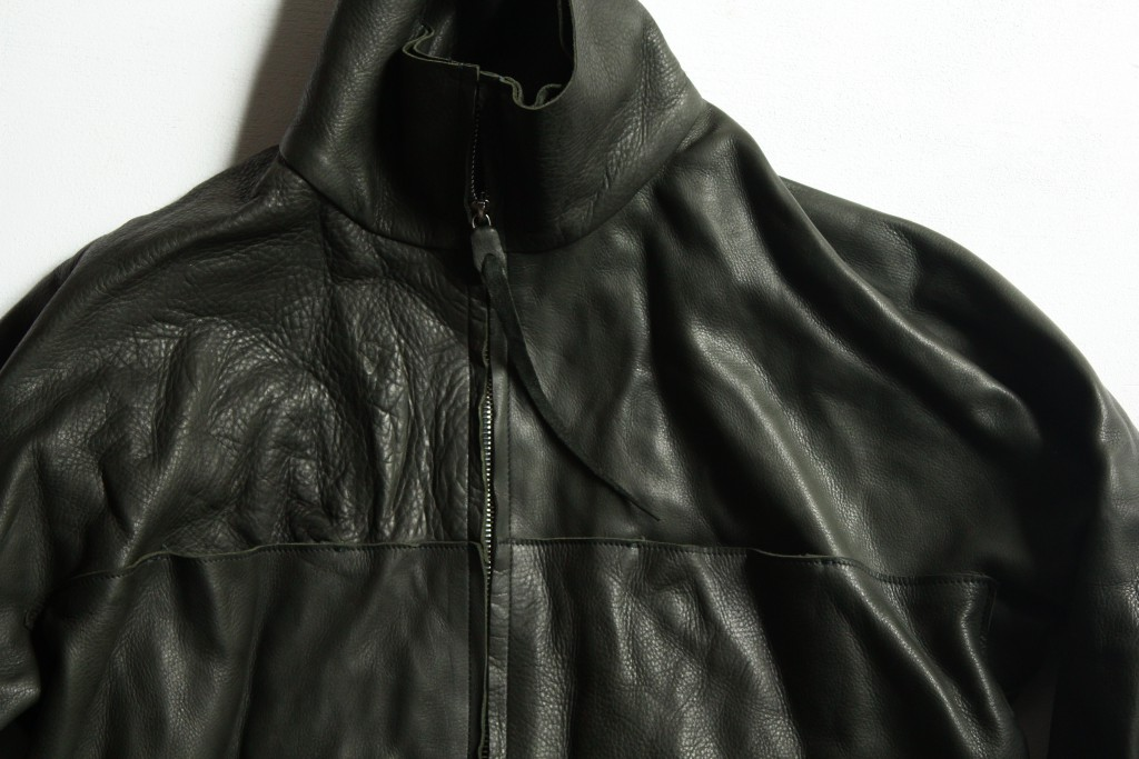 m.a+  zipped tall collar leather shirt