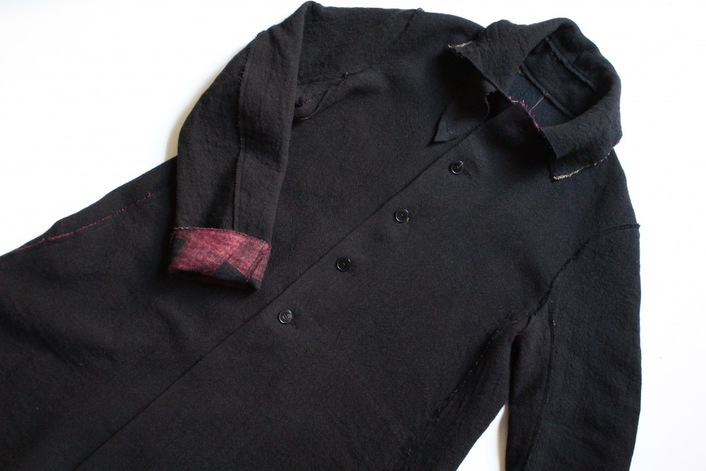 m.a+  high collar wide unlined coat