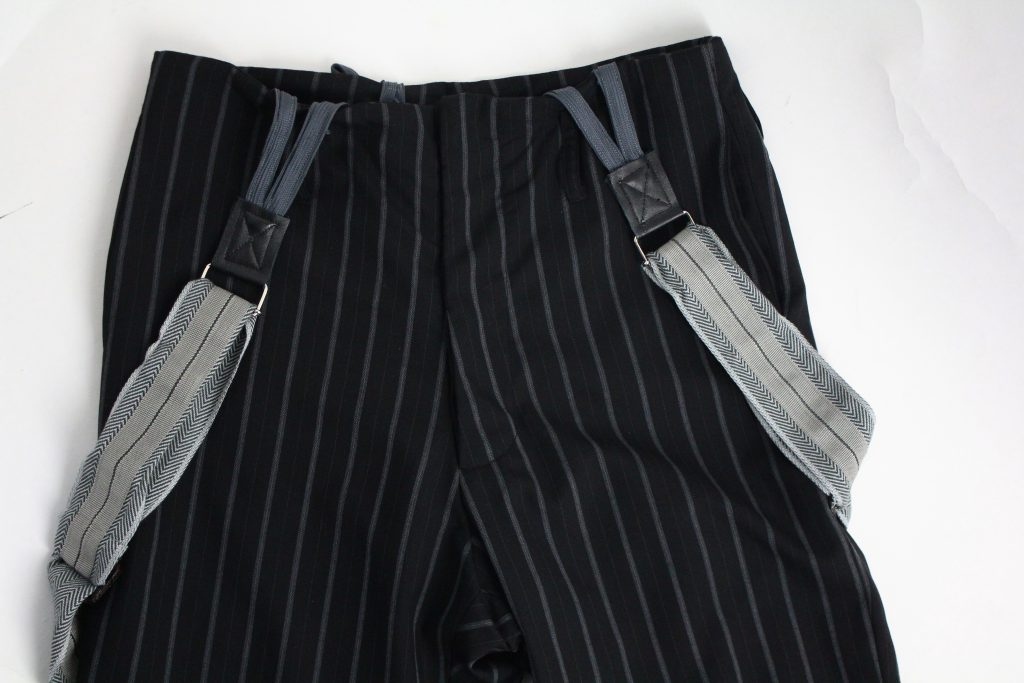 Geoffrey B.Small  8/10 length relaxed pleated dart bottom leg suspender trouser