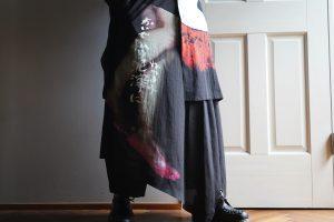 YOHJI YAMAMOTO【BLACK Scandal】Quagmire Print Skirt