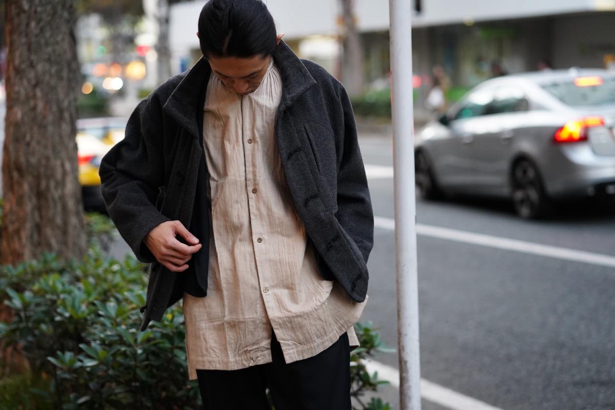 ARAKI YUU Band Collar  Long Shirts
