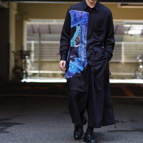 YOHJI YAMAMOTO 19SS Leopard Ukiyoe Silk Shirt