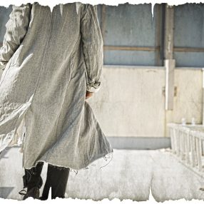 ELENA DAWSON  BLUE RUSSIAN TWILL DUSTER COAT