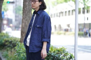 PORTER CLASSIC Roll Up Linen Stripe Shirt