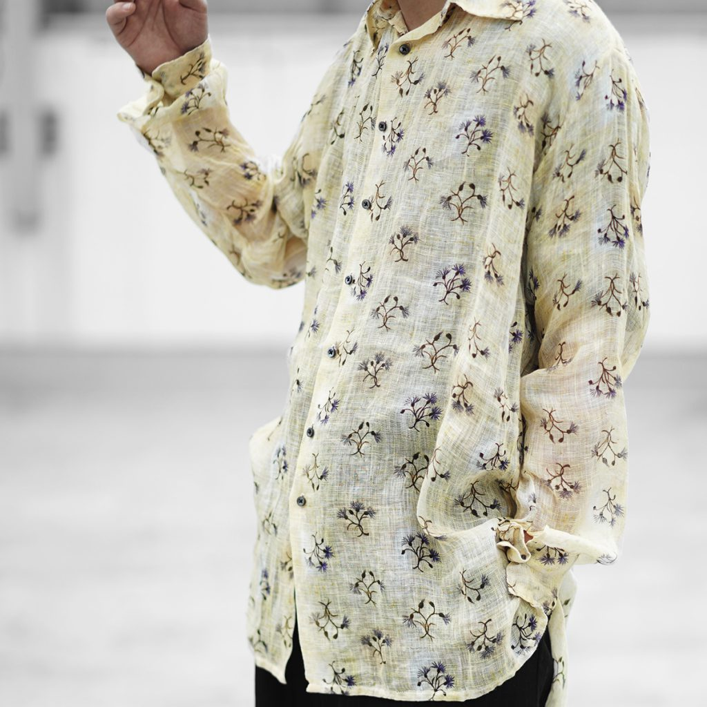 Geoffrey B.Small  floral print relaxed long proportion tailored shirt