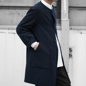 Geoffrey B.Small  oversized collar less patch-welt pocket A-line coat
