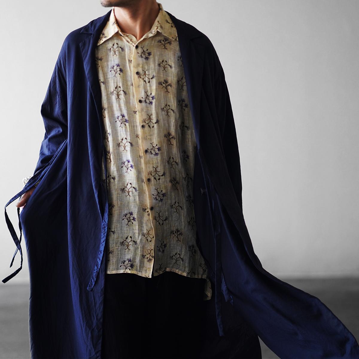 "Geoffrey B.Small  Piacenza Super 150's ""Emotions"" d-b notch-lapel long wrap fully-lined  jacket NAVY"