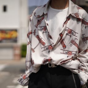 MAISON MARGIELA Airplanes Print Open Collar Shirt