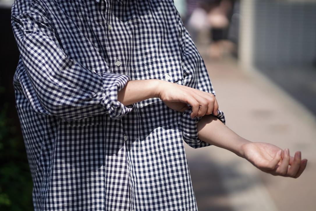 Porter Classic ROLL UP GINGHAM CHECK SHIRT