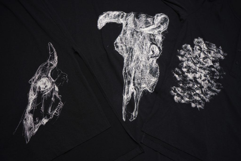 YOHJI YAMAMOTO 19-20AW Drawing Print Cut&Sew