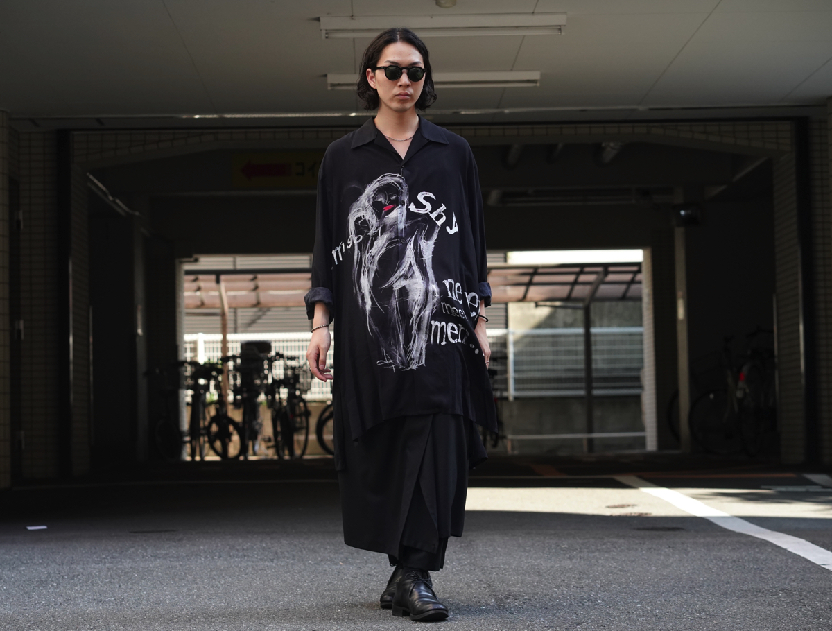 "YOHJI YAMAMOTO ""I'M SO SHY"" Open Collar Long Shirt"
