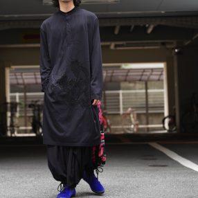 YOHJI YAMAMOTO Stand Collar Long Scull Pattern