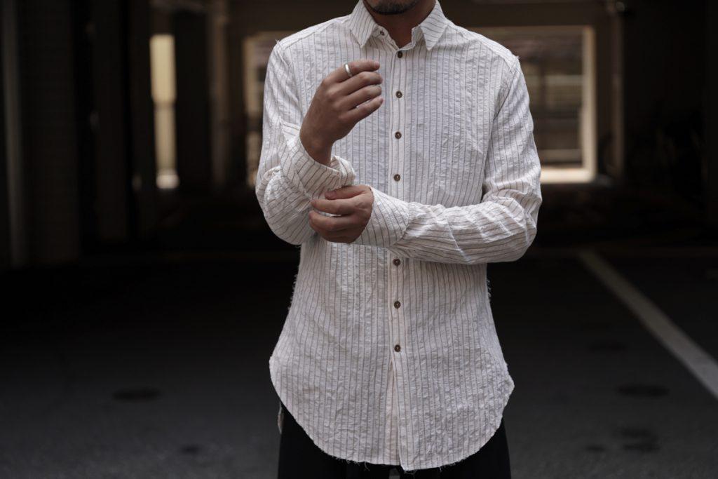 ARAKIYUU Raw Cut Narrow Stripe Shirt
