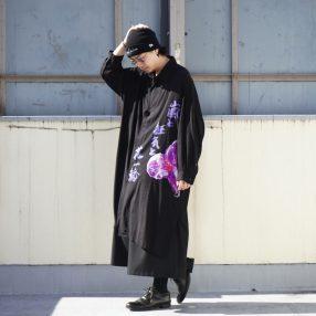 "YOHJI YAMAMOTO ""嵐と狂気と花一輪"" Print Shirt"
