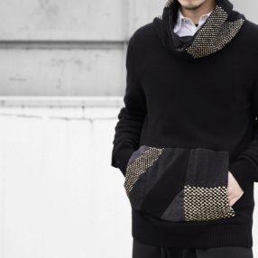 Geoffrey B.Small  handmade patchwork collar cowl-neck sweater