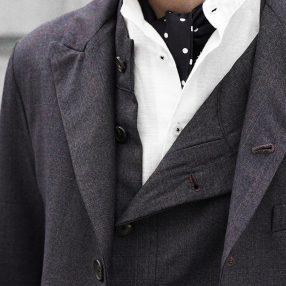 "Geoffrey B.Small   Fratelli Piacenza Super 150's ""Emotion Crossbred"" 100% wool stripe Jacket&Vest"