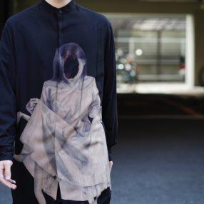 YOHJI YAMAMOTO 20SS UCHIDA Print Band Collar Long Shirt