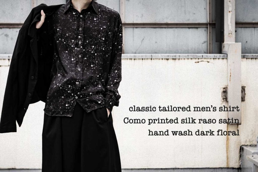 Geoffrey B.Small  handmade classic tailored  dark floral men's shirt