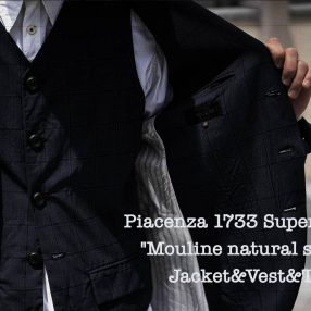 "Geoffrey B.Small  Piacenza Super 130's ""Mouline natural stretch"" 3 piece set up"