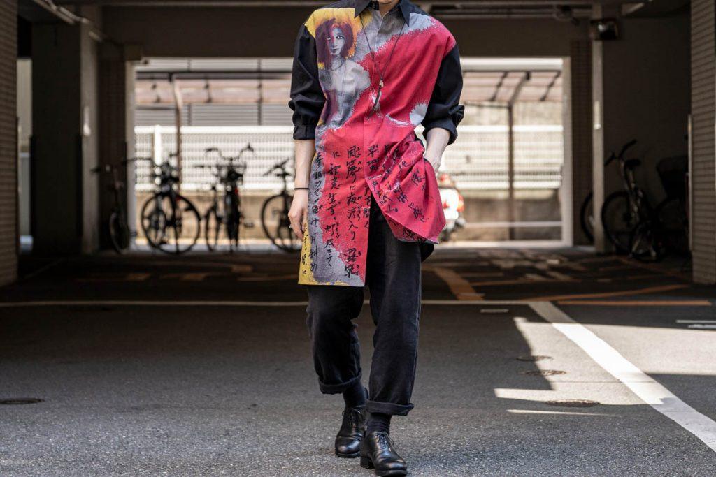YOHJI YAMAMOTO 20-21AW UCHIDA Print Big Shirt B