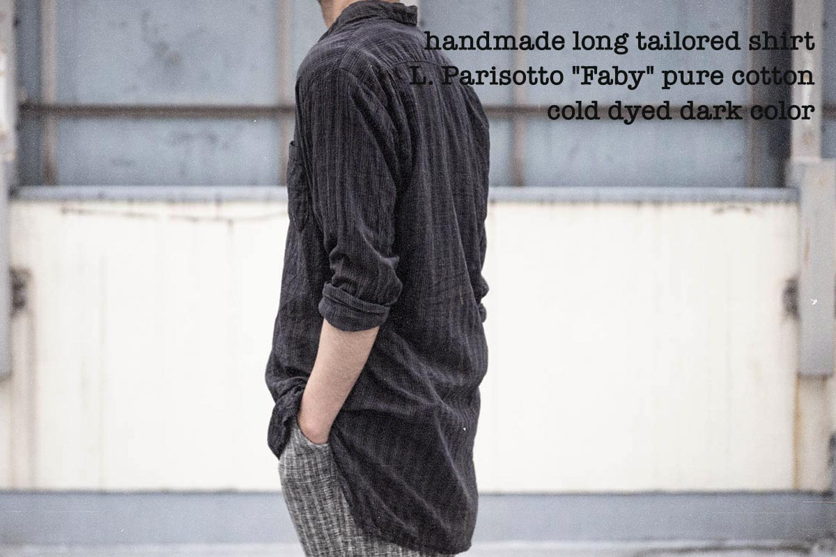 Geoffrey B.Small  handmade long tailored shirt dark