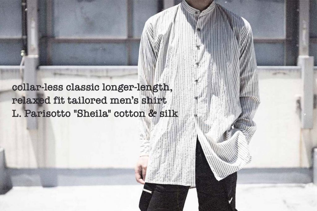 Geoffrey B.Small  handmade collar-less classic longer-length, relaxed fit tailored men's shirt
