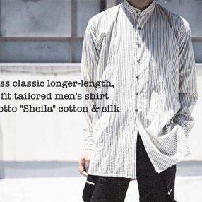 Geoffrey B.Small  handmade collar-less classic longer-length, relaxed fit tailored men's shirt