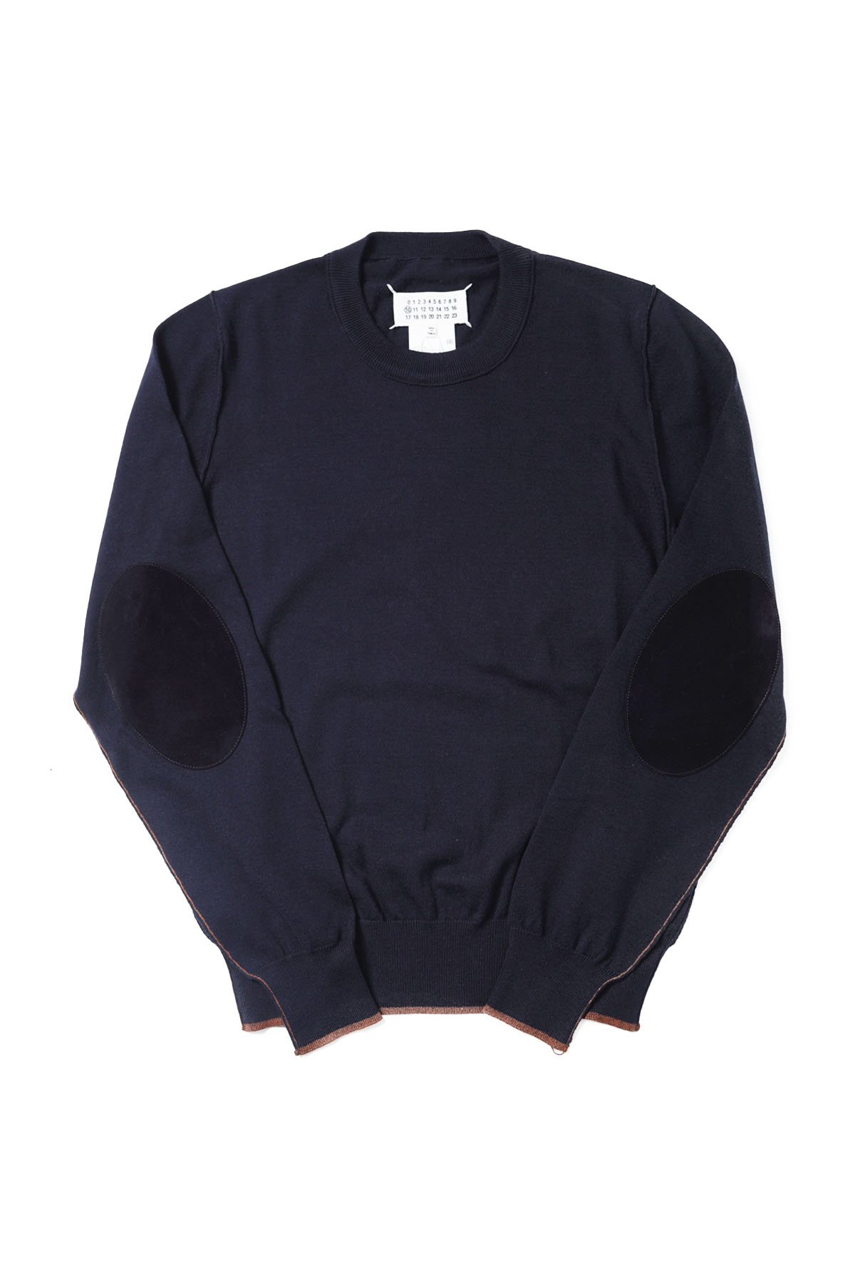 Elbow Patch Crew Neck Knit Navy[2021SS]