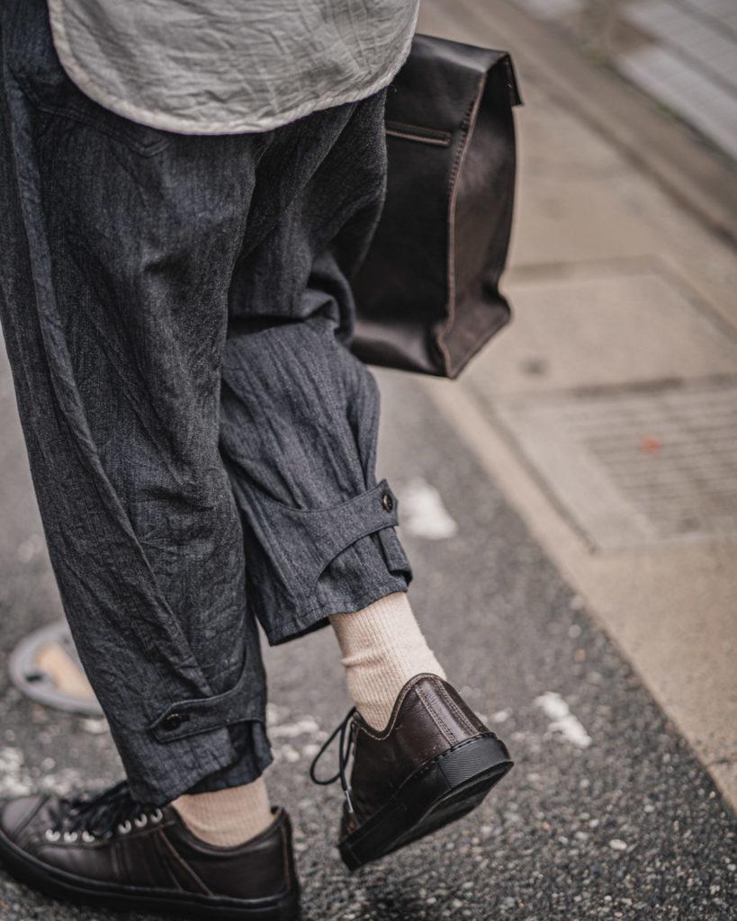 ARAKI YUU / Baggy Pants Diamond Herringbone Grey