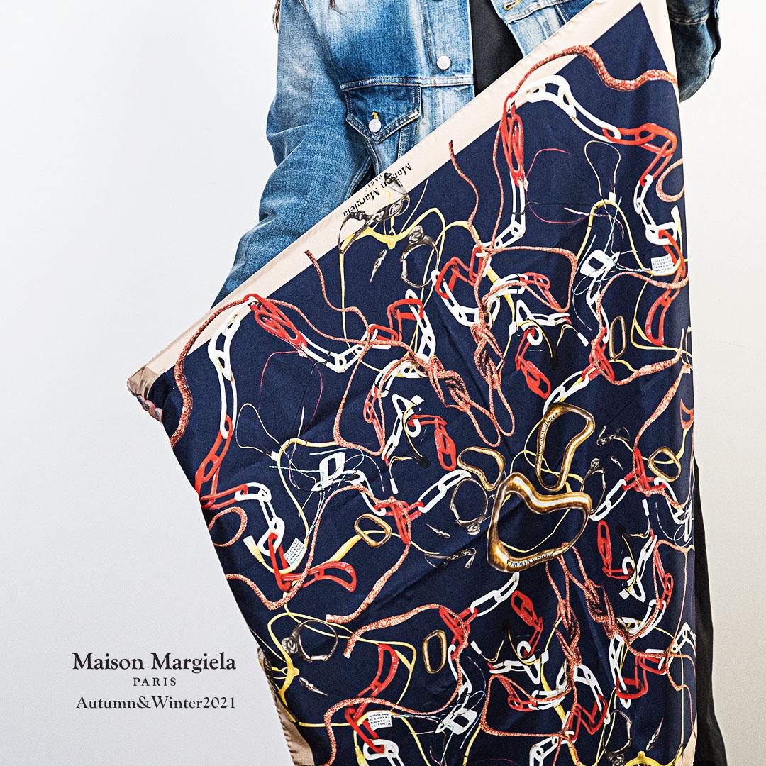 メゾンマルジェラのチェーンプリント スカーフ